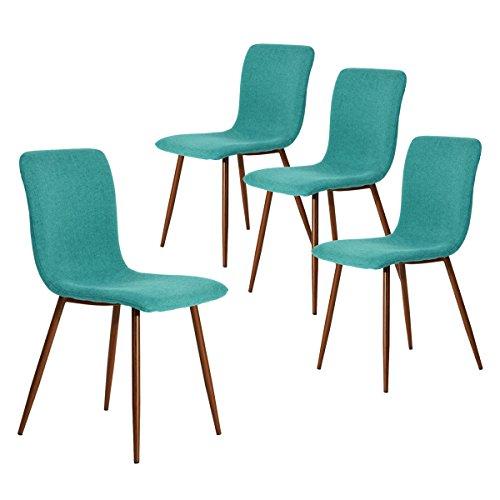 Coavas Esszimmerstühle 4er Set Küchenstühle Schöne Form Bequeme Stühle mit stabilen Metallbeinen für Esszimmer, Grün -