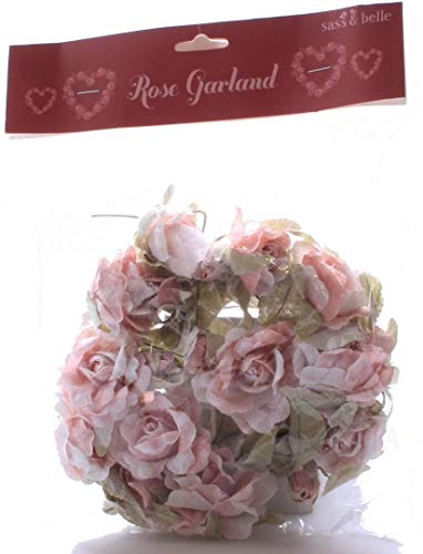 Sass & Belle Artificial Rosa Rose Decorativo con Cable Guirnalda navideña ~...