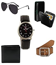 Combo of brown belt,watch,sunglass,wallet and cardholder just in Rs.699