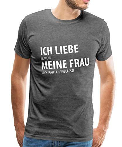 Spreadshirt Ich Liebe Meine Frau Rad Fahren Spruch Männer Premium T-Shirt, XXL, Anthrazit