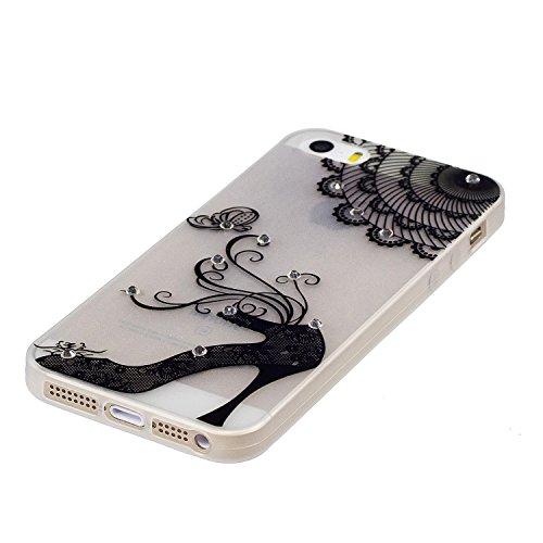 Diamant Schutzhülle für iPhone SE,Leuchtend Luminous Noctilucent Handyhülle für iPhone 5S,Funyye Stilvoll Weiß Pferd Muster Ultradünne Glitter Weiche Flexible Night Luminous Transparent Rückseite Schu Spitze Schuh
