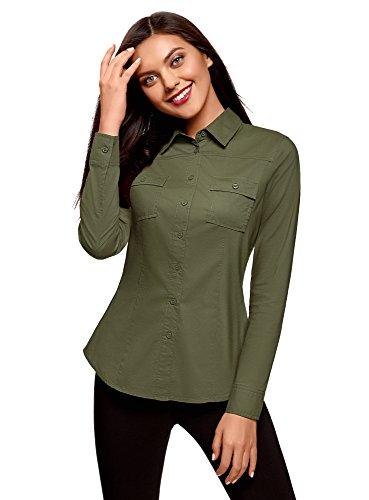 oodji Ultra Damen Tailliertes Hemd mit Brusttaschen, Grün, DE 40 / EU 42 / L