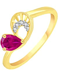 Vidhi Jewels Gold Plated Pink Pearl Heart Pattern Alloy & Brass Finger Ring For Women And Girls [VFR108G]