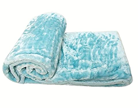 LUXURIOUS HEAVYWEIGHT 1.5 KILO SUPERSOFT DUCK EGG BLUE WARM FLEECE THROW BLANKET 150 X 200CM