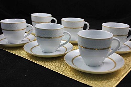 Topkapi Victoria TK-990-12-TLG Tee-Set/Kaffee-Set mit Golddekor~200 ml, Tassen und Untertassen aus Porzellan