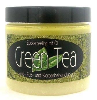 Rohrzucker-peeling (200ml GREEN TEA (grüner Tee)-Zuckerpeeling-Zucker Peeling-Duschpeeling-Wellnesspeeling-Wellness-Handpeeling-Pflegepeeling-grüner Teeduft)