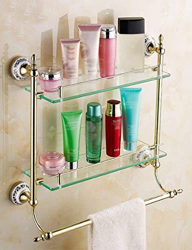 DEED Wandbehang Mount Rack Toilette Wc Single Glas Regal Doppelschicht Dressing Rack Europäischen Stil Badezimmer Racks Lagerregal,45 * 14 cm -