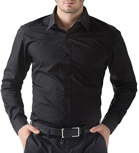 Pauljones camicia uomo slim fit classico vestibilità perfetta vestibilità taglia 5xl nero