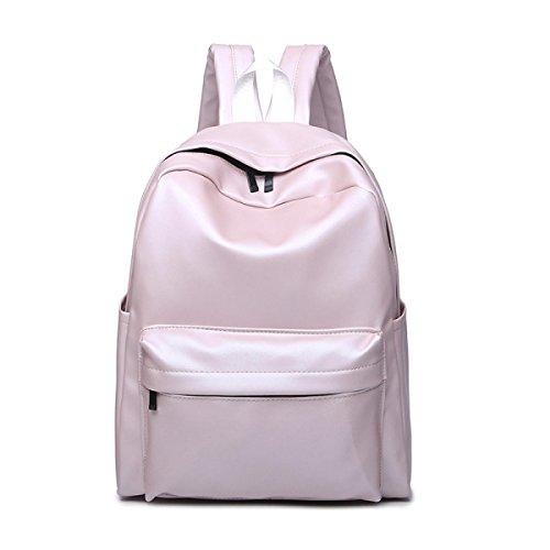 Preisvergleich Produktbild EAMIYA PU Studenten Schule Große Kapazität Einfache Schultasche Laptop-Tasche Bunt,Pink-OneSize