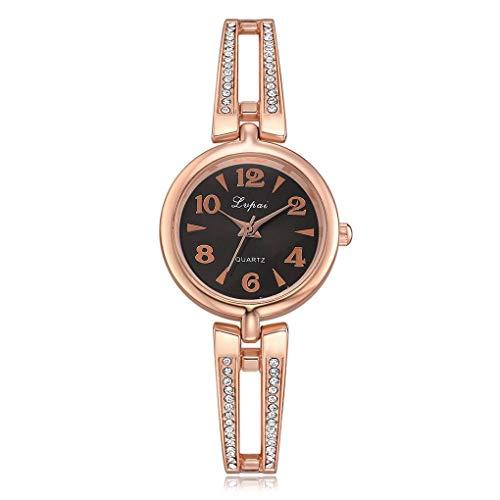 Kakiyi Strass-Dekor-Uhrenarmband-Frauen-Mädchen-Quarz-Uhr-Armband Alloy Round-Armbanduhr