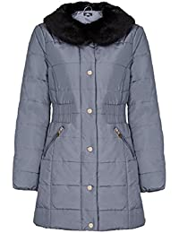 David Barry Womens Quilted Winter Coat With Fur Trim Collar