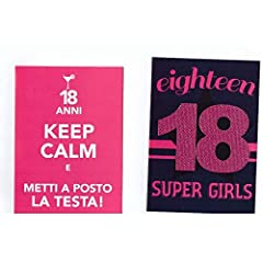 Idea Regalo - TrAdE Shop Traesio 2 Biglietti Auguri Compleanno 18 Anni Fucsia con Busta Keep Calm Super Girl