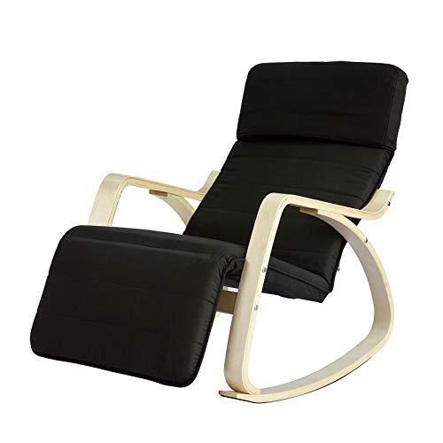 SoBuy® FST16-SCH Neu-Schaukelstuhl (verstellbares Fussteil),Relaxstuhl,Relaxsessel mit Tasche,Schwarz
