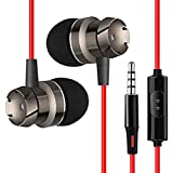 PTron HBE6 Headphone Metal Earphone in-Ear Wired Headset with Mic for All Smartphones (Red/Black)