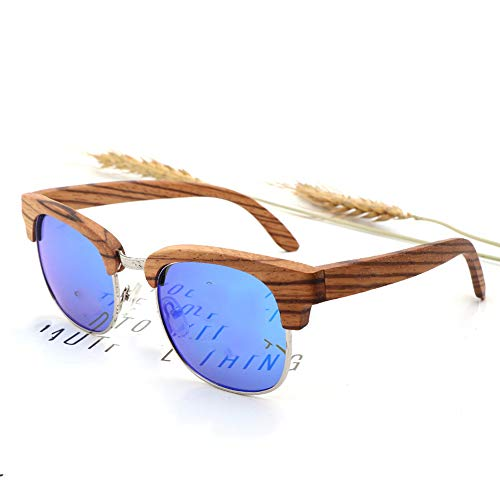 Zbertx New Zebra Wood Sonnenbrille Damen Herren Travel Polarized Half-Frame Sonnenbrille Uv400,Blue