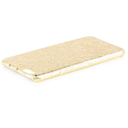 iCues Apple iPhone 6/6S PLUS Chrom Blume Cover - Türkis - Exklusives Design + Displayschutzfolie gold