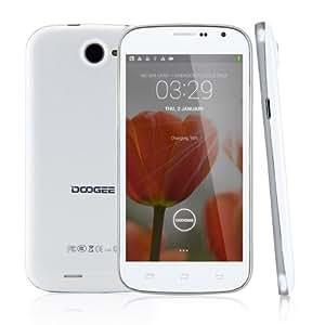 Smartphone Blanc - Doogee DG500C 5.0 pouces écran QHD IPS MTK6582 Quad Core Android 4.2 1G RAM 4G ROM portable 3G Double SIM Double Veille téléphone portable 8.0MP Caméra Wifi GPS pour orange, SFR, Bouygues, Free etc