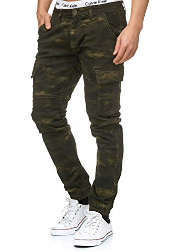 Indicode Herren August Cargo Cargohose Pants Chino Hose Stoffhose aus Stretch-Material Regular Fit Dired Camouflage L