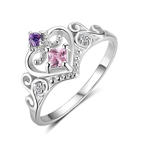 Yazilind Exquisite 925 Sterling Silber Inlay Schöne Zirkon Crown Shaped Hochzeit Ewigkeit Ring Elegant Für Frauen Damen Größe 16.6 (Silber Granat Ring Ewigkeit)