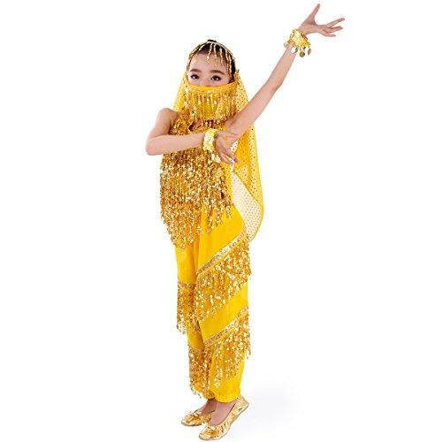 Harem Kostüm Mädchen Bauchtänzerin - SymbolLife Maedchen Bauchtanz-Kostuem, Harem Pants + Halter Top + Kopftuch + Schoene Armband + Gesicht Schal Sets Groesse L Gelb