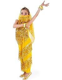 SymbolLife Mädchen Bauchtanz Kostuem Kinder tanzkleid, Trägertop + Pluderhosen + Kopftuch+ Armbänder+ Handtuch