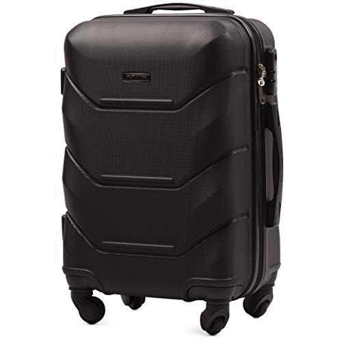 VINCI LUGGAGE Geräumiger Kabinentrolley - Leichter Flugzeugkoffer - Luxuriöser und moderner Koffer mit zweistufigen Teleskopgriff und Kombinationsschloss (Schwarz, XS (50x33x20))