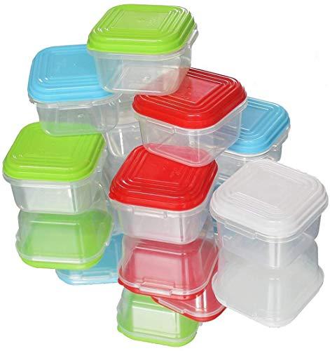 Arsuk 8 mini contenitori per alimenti per bambini, senza bpa contenitori di plastica riutilizzabili con ermetici coperchi impilabili, adatti al microonde freezer lavastoviglie (8 pezzi - 120ml)