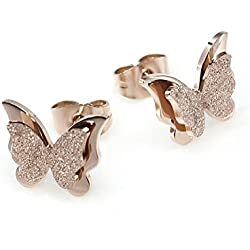 Yellow Chimes Charming Dual Butterfly Surgical Steel 18K Real Rose Gold Stud Earrings for Girls and Women
