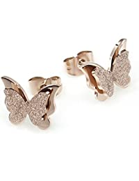 Yellow Chimes Charming Dual Butterfly Surgical Steel 18K Real Rose Gold Pendant Earrings Ring Set for Girls and Women