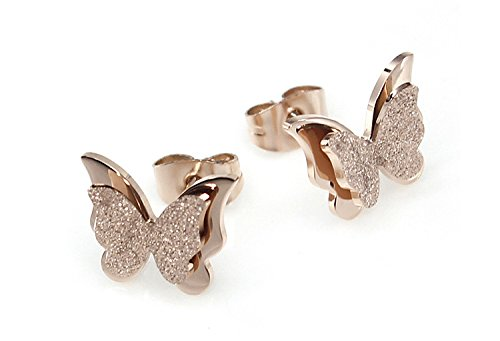 Yellow Chimes Charming Dual Butterfly Surgical Steel 18K Real Rose Gold Stud...