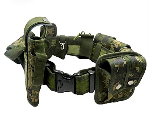 Outdoor Camouflage Belt Pouch Paramilitary Equipment Law Enforcement Combat Multifunction Police Guard Security Belt Equipment 9 Bag Camping Airsoft Kampfsport Gürtel Taktische Gewehrriemen Beutel