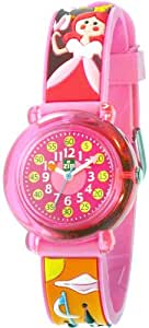 Baby Watch - Zip Princess - Montre Fille - Montre pédagogique 6-9 ans - Bracelet en PVC 3D Rose