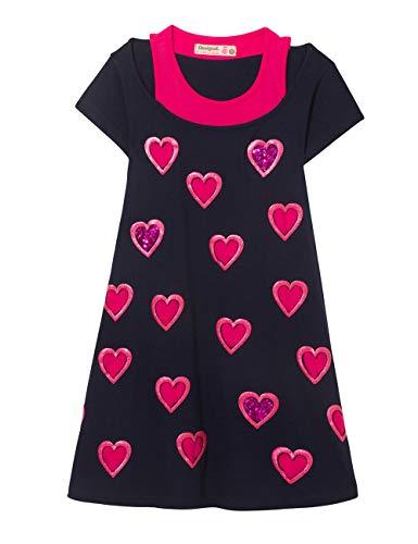 Desigual Mädchen Kleid Girl Knit Dress Short Sleeve (Vest_SOUIX), Blau (Navy 5000) 128 (Herstellergröße: 7/8)