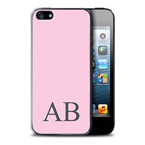Personalisiert Pastell Monogramm Hülle für Apple iPhone SE / Grünes Design / Initiale/Name/Text Schutzhülle/Case/Etui Rosa
