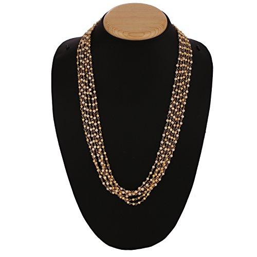 lattiert und Perlen Perlen Kette Halskette Fashion Schmuck für Frauen 50,8cm (Mardi-gras-perlenketten)