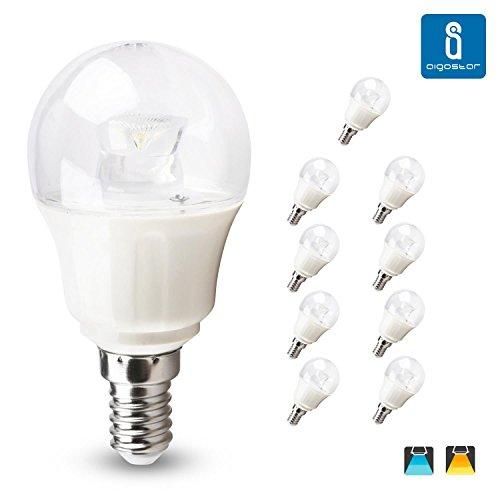 Aigostar - 182786 - pack de 10 bombillas led c5 g45b de 5 watios, casquillo fino (e14), 330 lumen y luz fria (6400k)