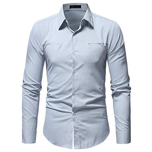 B-COMMERCE Herren Hemd Slim Fit Langarmshirt Freizeit Langarmhemd Bügelfreies Business Formale Anzug Party Hochzeit T Shirt Man Fashion Printed Bluse beiläufige Lange Hülsen-dünne Hemd - Exklusiver Anzug