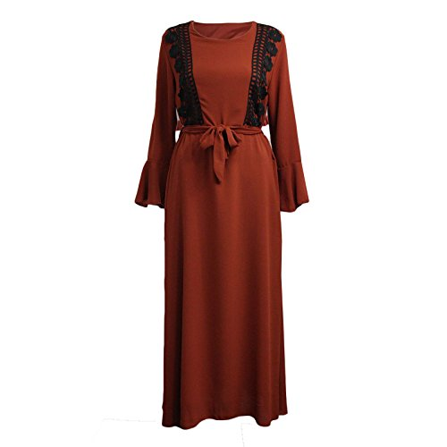 Miss Trendy Womens Ladies Jilbab Abaya Long Sleeve Belted Maxi Dress Vintage Cocktail Kaftan (Rust Flower Lace, One Size (FITS UK 8-14))