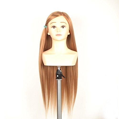 100% cheveux synthétiques, 61 cm Cosmétologie Mannequin Têtes d'entraînement Practise Coiffure Coupe Tête de mannequin Couleur de cheveux blonds, Gingembre, avec pince de serrage
