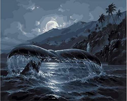 Suubboo Malen nach Zahlen Rahmenlose DIY Whale Tail Landschaftsmalerei Nach Zahlen Acryl Handgemaltes Ölgemälde Für Hauptdekor Artwork 40X50Cm