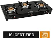 Lifelong 3 Burner Gas Stove, Black (Glass Top, ISI Certified)