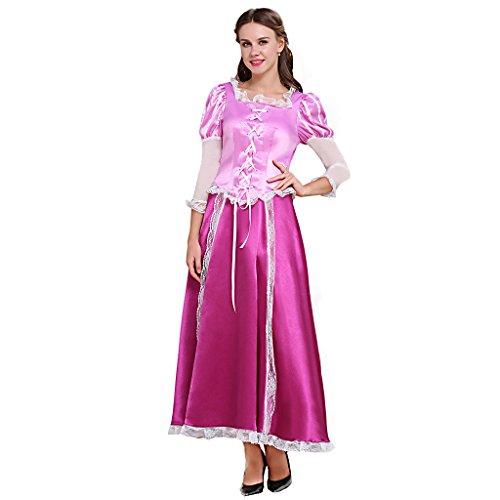 Cosplayitem Femmes Filles Robe Princesse Cosplay Costume Manches Longues Dirndl Dress Rose Rose