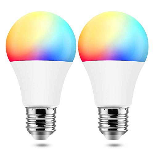 BrizLabs Smart WLAN Lampe E27 9W LED Glühbirne Wifi Glühlampe 806LM Mehrfarbig Birne, App Dimmbare RGB Bulb Kompatibel mit IFTTT Amazon Alexa (Echo, Echo Dot) Google Assistant, 2 Stück