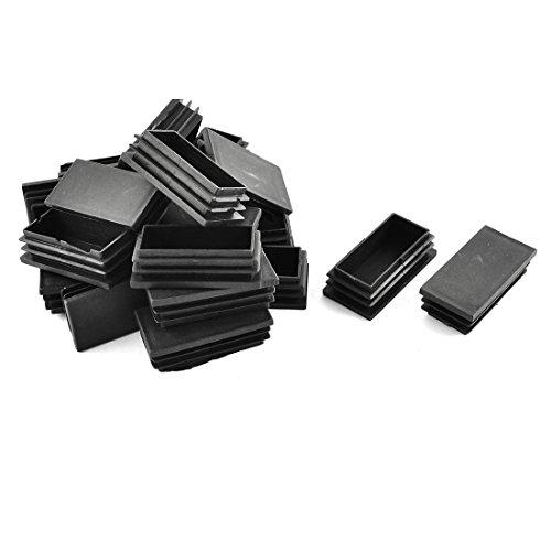 Sourcingmap® Rectangle Plastique Tuyau Tube insère Fin Obturation Noir 30mm x 60mm 20 pcs
