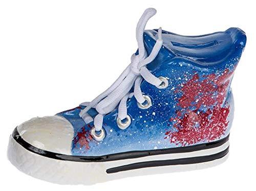dekojohnson Hucha con Forma de Zapato, Divertida Hucha Azul, Regalo de Dinero, Caja de Vacaciones, Cerdito de cerámica con Cierre, 5 x 19 cm