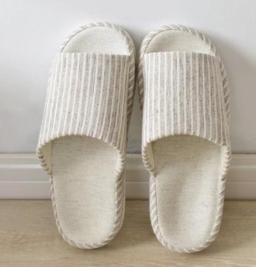 Automne, pantoufles d'intérieur hommes et femmes et chaussons lin rayé ouverture hiver couple Accueil men brown