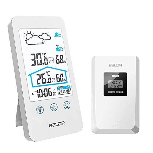 FLYLAND Estación meteorológica inalámbrica, Termómetro Digital inalámbrico para Interiores y Exteriores...
