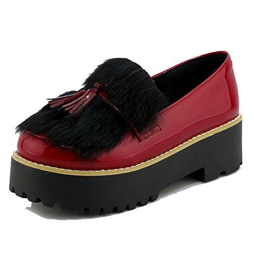 VogueZone009 Damen Ziehen Auf Pu Leder Rund Zehe Mittler Absatz Rein Pumps Schuhe Rot