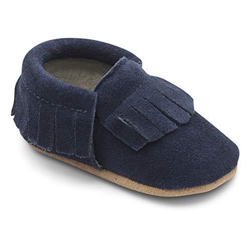 Dotty Fish Mokassins. Wildleder Babyschuhe mit weicher Sohle. rutschfest. Kinder Kleinkinder erste Schuhe. Jungen Mädchen. Marineblau. 0-6 Monate (17 EU)
