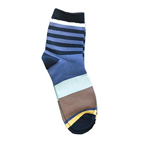iYmitz Herren Beiläufig Socken Sommer Winter Baumwolle Medium Design Multi-Color Mode Stripes Sockens(Grau,Free size)